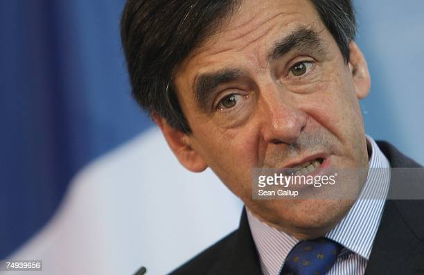 French Prime Minister Francois Fillon speaks to the media after talks with German Chancellor Angela Merkel at the Chancellery June 28 2007 in Berlin...