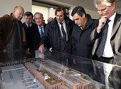 French Prime minister Francois Fillon visits the project of the 'Cit�� du Cin��ma' with SeineSaintDenis deputy Patrick Braouzec publicist Christophe...
