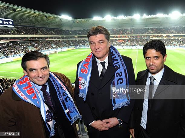 French Prime Minister François Fillon French Sports Minister David Douillet and Supervisory board president of the Paris SaintGermain L1 football...