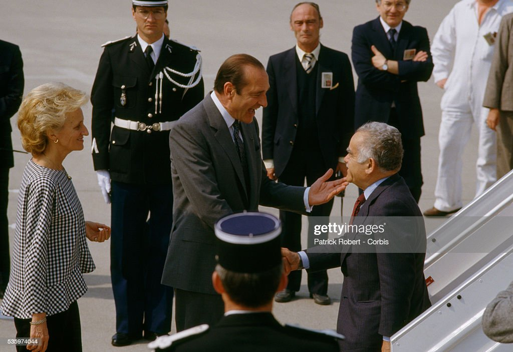 French Prime Minister Jacques Chirac and his wife Bernadette Chirac greet Israeli Prime Minister Yitzhak Shamir at Orly Airport The two leaders...