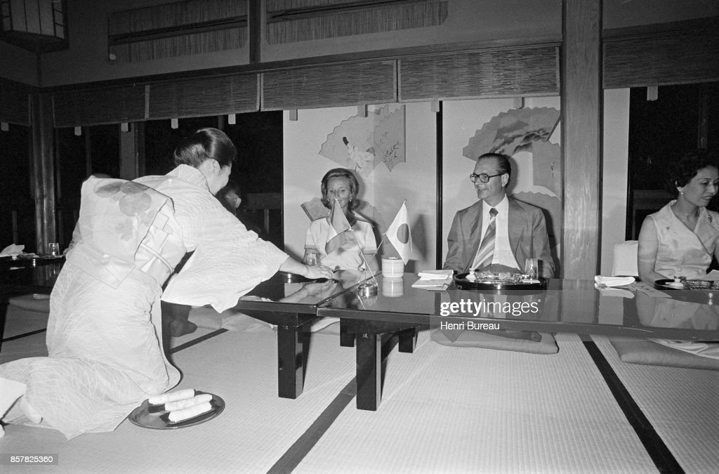 French Prime Minister Jacques Chirac and his wife Bernadette having a traditional diner in Kyoto with some geisha, 1st August 1976