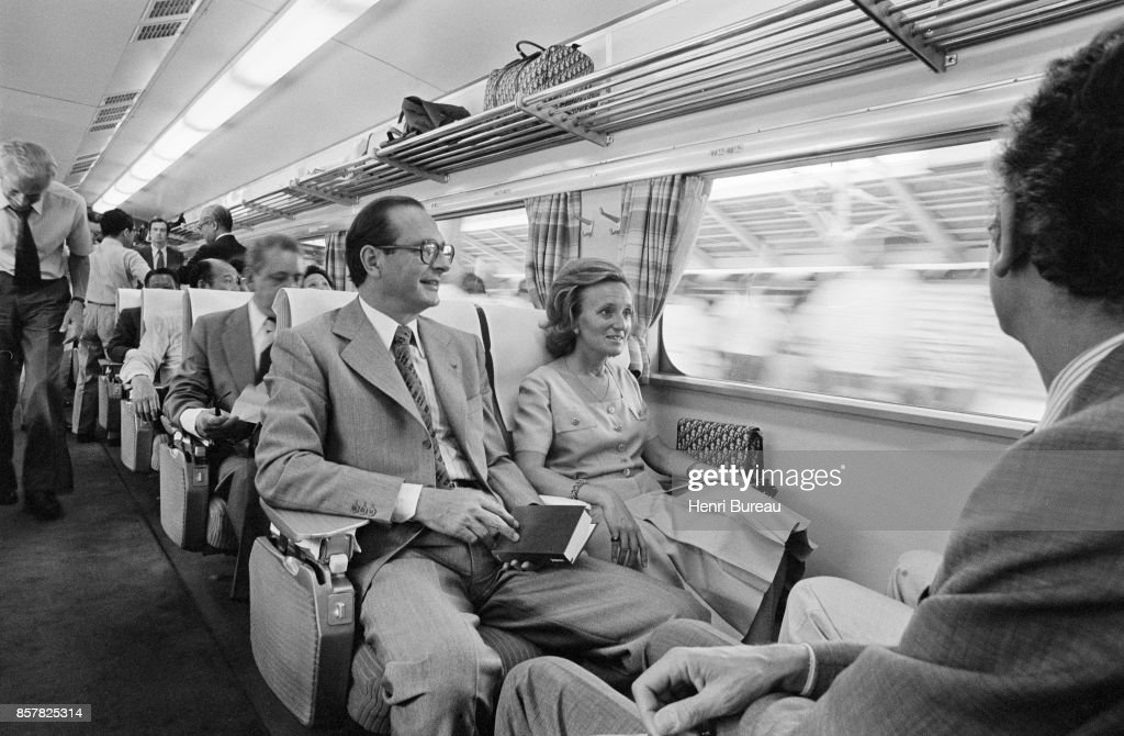 French Prime Minister Jacques Chirac and his wife Bernadette on the fastest train of the world, going to Kyoto, Japan, 1st August 1976