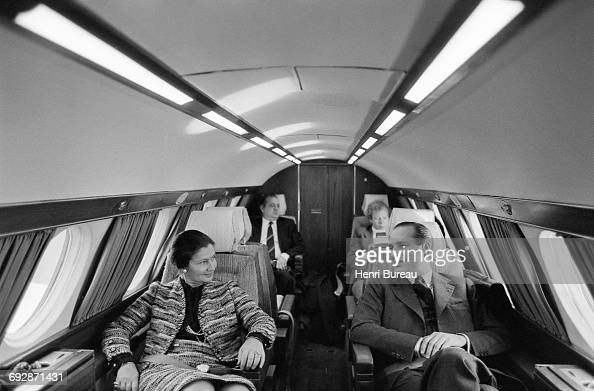French Prime Minister Jacques Chirac and Minister of Health Simone Veil in an aircraft on their way to Correze France 25th January 1975