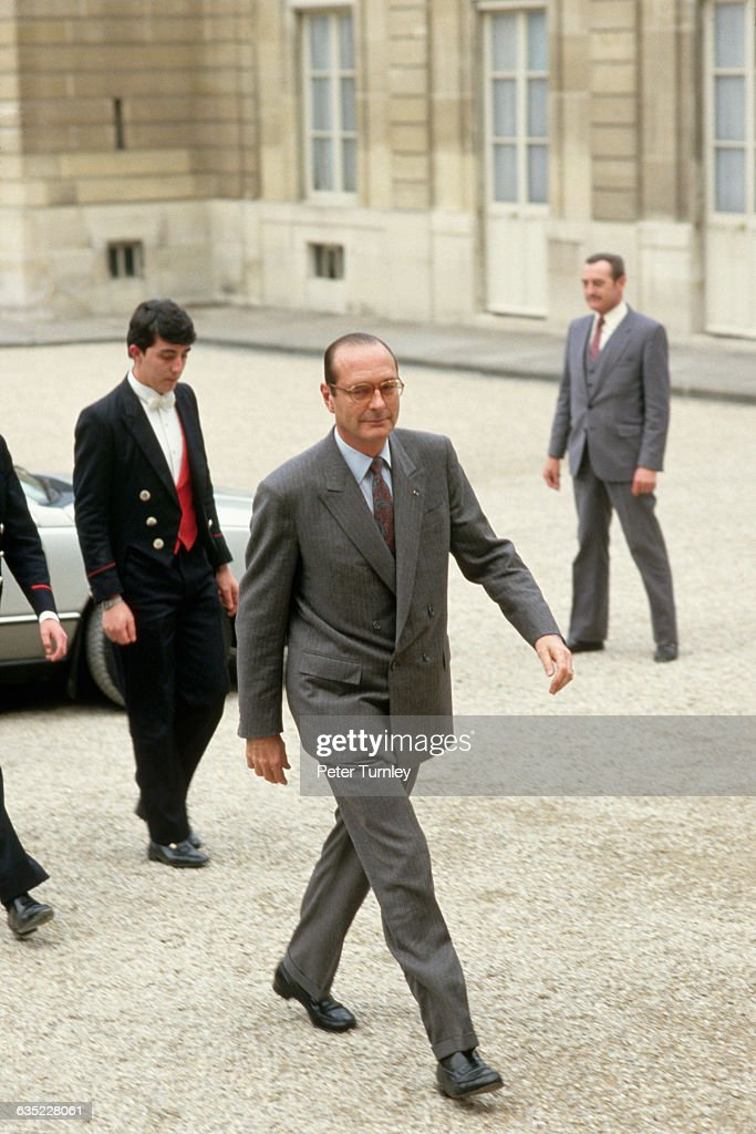 French Prime Minister <a gi-track='captionPersonalityLinkClicked' href=/galleries/search?phrase=Jacques+Chirac&family=editorial&specificpeople=165237 ng-click='$event.stopPropagation()'>Jacques Chirac</a> arrives at the Palais de l'Elysee.