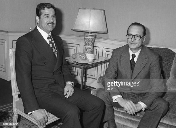 French Prime minister Jacques Chirac confers 03 March 1975 in Hotel Matignon in Paris with Iraqi VicePresident Saddam Hussein As Premier Chirac...