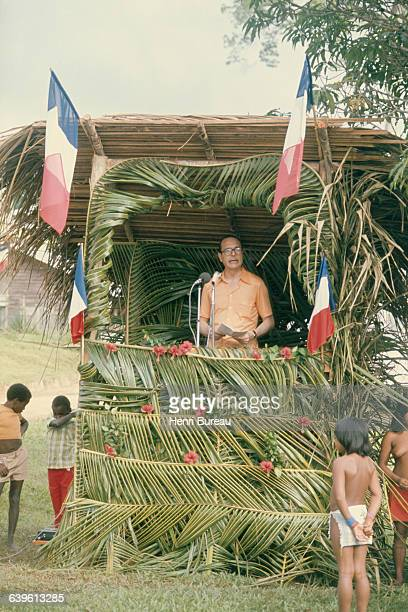 French Prime Minister Jacques Chirac gives a speech in French Guiana during an official visit to France's overseas territories