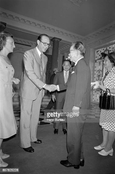 French Prime Minister Jacques Chirac his wife Bernadette saluting the Japanese Prime minister Takeo Miki and his wife in Tokyo 1st August 1976