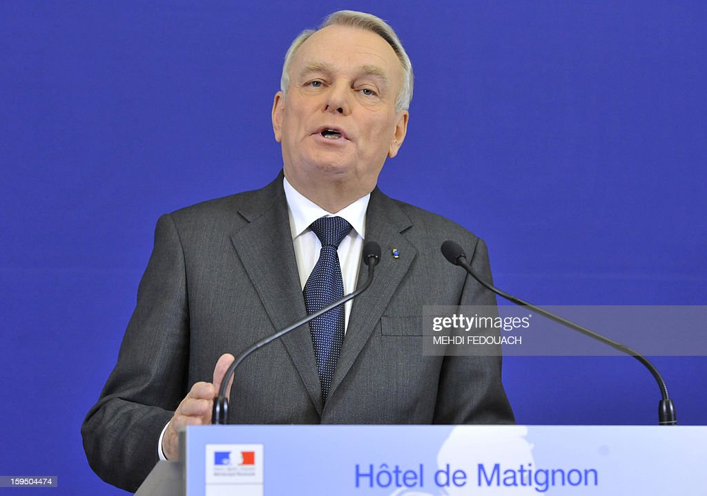 French Prime Minister Jean Marc Ayrault speaks to the press on January 14, 2013 at the Hotel Matignon in Paris, after a meeting to inform leaders of French political parties on France's military intervention in Mali. France launched its operation against Mali-based Islamists on a unilateral basis on January 11, but has since been offered logistical support by several NATO allies, including Belgium, Britain, Denmark, Germany and the United States. AFP PHOTO MEHDI FEDOUACH