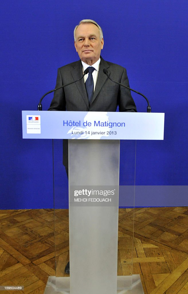 French Prime Minister Jean Marc Ayrault speaks to the press on January 14, 2013 at the Hotel Matignon in Paris, after a meeting to inform leaders of French political parties on France's military intervention in Mali. France launched its operation against Mali-based Islamists on a unilateral basis on January 11, but has since been offered logistical support by several NATO allies, including Belgium, Britain, Denmark, Germany and the United States.