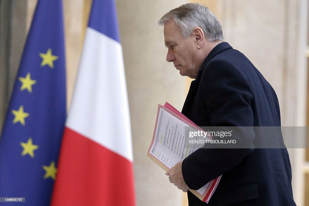 French Prime Minister, Jean-Marc Ayrault arrives at the Elysee Presidential palace in Paris for a meeting with French President focused on the situation in Mali and Algeria on January 18, 2013. Two French workers 'are back' safe from the hostage crisis in Algeria, Interior Minister Manuel Valls said today, adding that 'very few' were working at the gas plant at the time of the attack.