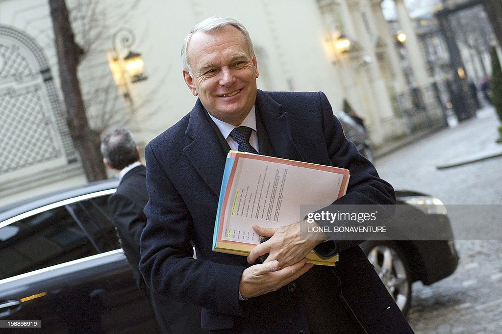 French Prime Minister, Jean-Marc Ayrault arrives at the Ministry of Interior to attend a breakfast with ministers on January 3, 2013 in Paris, prior to first cabinet meeting of the year.