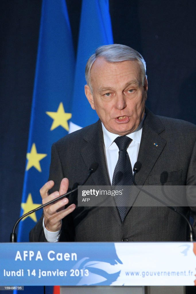 French Prime Minister Jean-Marc Ayrault delivers a speech after a visit in a center for adult learning (Afpa - formation pour adultes), on January 14, 2013 in Caen, Normandy.