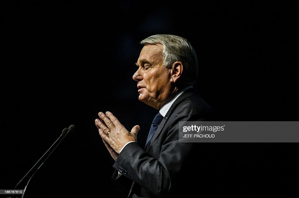 French Prime Minister Jean-Marc Ayrault delivers a speech at La Cite du Design, on November 4, 2013 in Saint-Etienne, center France.