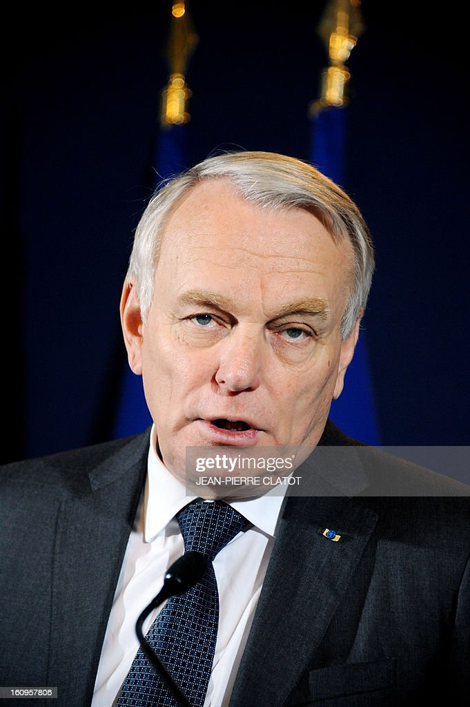 French Prime Minister Jean-Marc Ayrault delivers a speech focused on the government's health strategy at the Grenoble Prefecture, French Alps, on February 8, 2013.