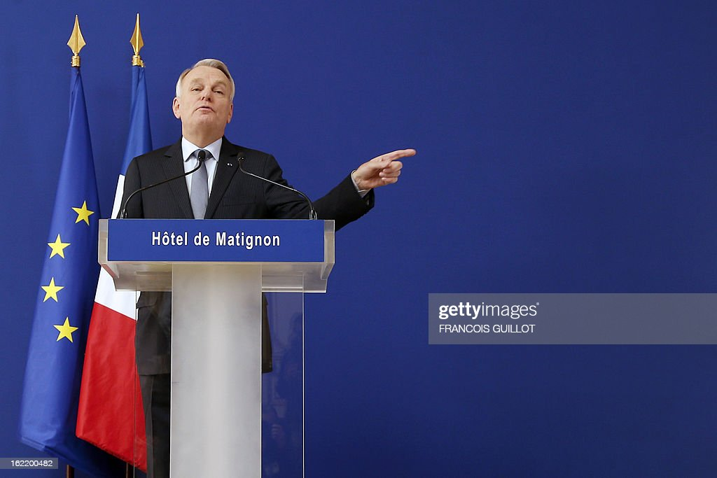 French Prime Minister Jean-Marc Ayrault delivers a speech following a lunch with French government's ministers focused on budget on February 20, 2013 at the Hotel Matignon, the Prime Minister official residence, in Paris.