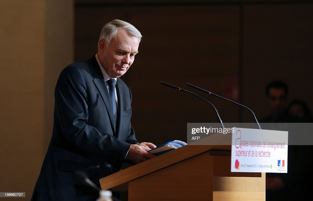French Prime minister Jean-Marc Ayrault delivers a speech on November 26, 2012 at the elite research institution College de France in Paris, during the opening of the meeting for Higher Education and Research. AFP PHOTO THOMAS SAMSON