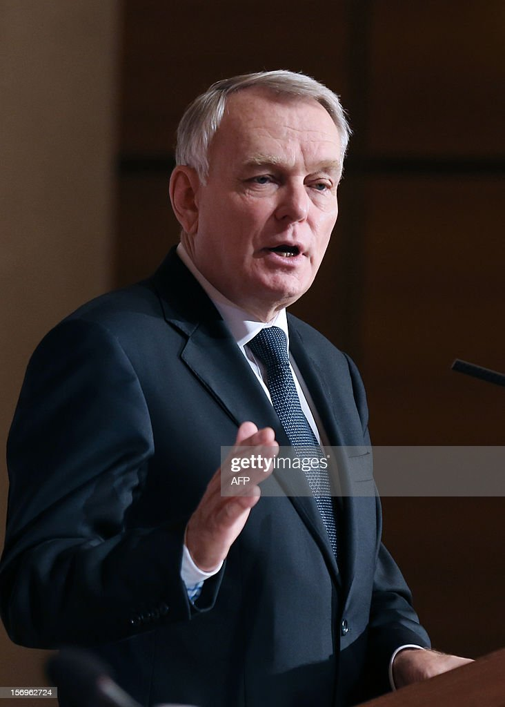 French Prime minister Jean-Marc Ayrault delivers a speech on November 26, 2012 at the elite research institution College de France in Paris, during the opening of the meeting for Higher Education and Research.