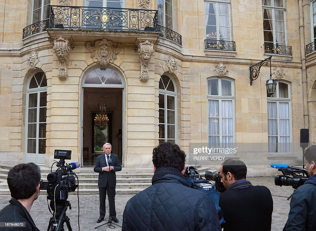 French Prime minister Jean-Marc Ayrault gives a speech in the yard of the Hotel Matignon, the Prime Ministrer's official residence, on May 3, 2013 in Paris, after a work seminar with administrative officials of the ministries.