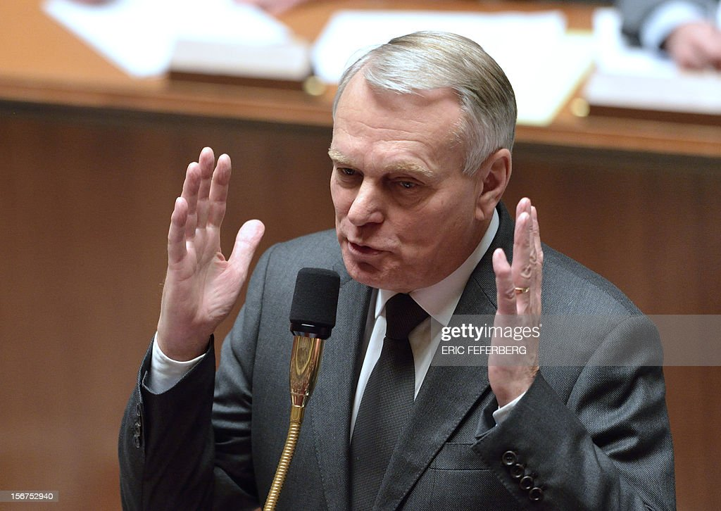 French Prime Minister, Jean-Marc Ayrault speaks during the weekly session of questions at the National Assembly on November 20, 2012 in Paris.