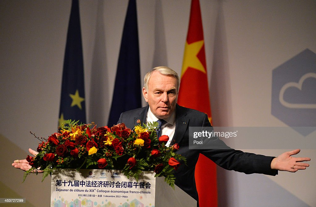 French Prime Minister <a gi-track='captionPersonalityLinkClicked' href=/galleries/search?phrase=Jean-Marc+Ayrault&family=editorial&specificpeople=551961 ng-click='$event.stopPropagation()'>Jean-Marc Ayrault</a> speaks to members of the French community at the start of his visit Beijing on December 5, 2013 in Beijing, China. Ayrault who is on a four day visit to China will meet Chinese leaders in Beijing and travel to the cities of Wuhan and Guangzhou.