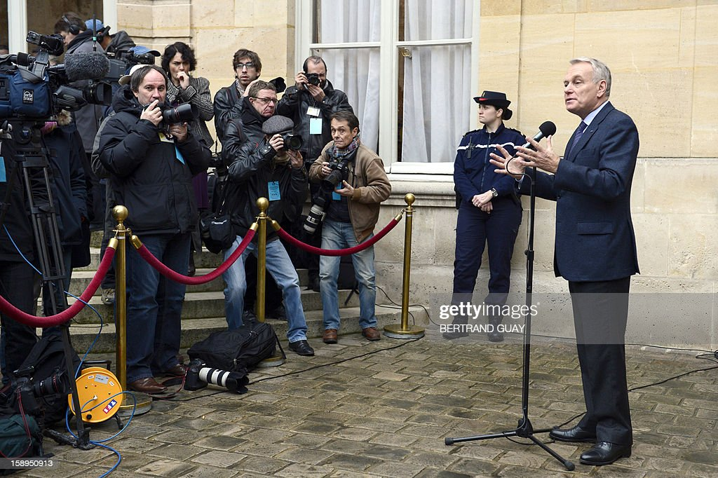 French Prime Minister Jean-Marc Ayrault speaks to the press on January 4, 2013 at the Hotel Matignon in Paris, after a seminar with French ministers focused on French government's agenda for the coming year.