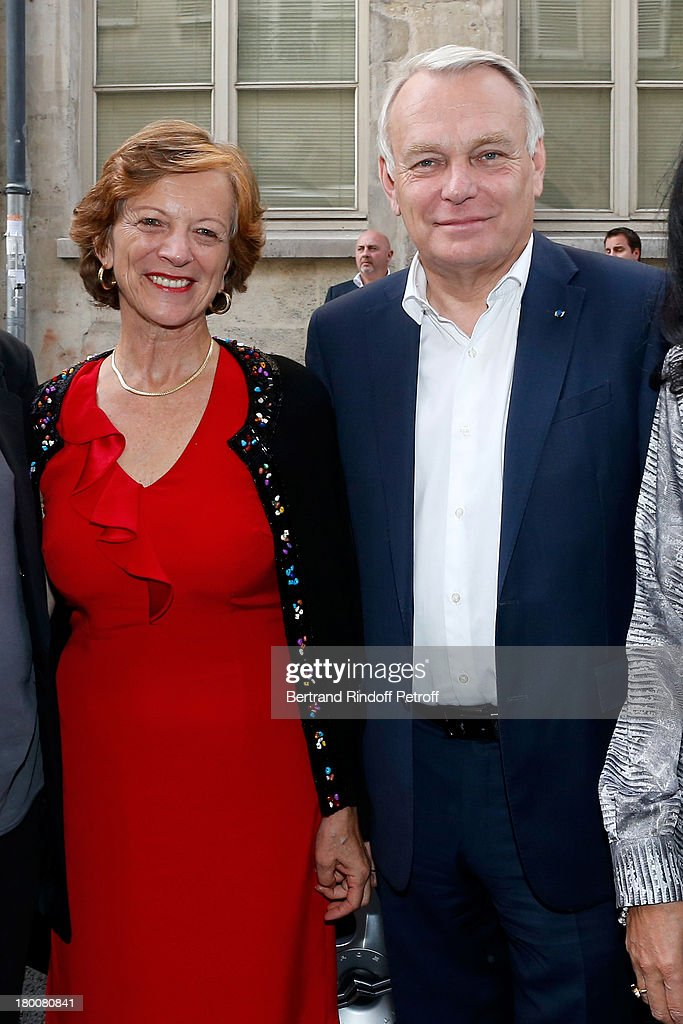 French Prime Minister <a gi-track='captionPersonalityLinkClicked' href=/galleries/search?phrase=Jean-Marc+Ayrault&family=editorial&specificpeople=551961 ng-click='$event.stopPropagation()'>Jean-Marc Ayrault</a> with his wife Brigitte Ayrault attend Marek Halter's Rosh Hashanah celebration for the 5774 Jewish new year at his home on September 8, 2013 in Paris, France.