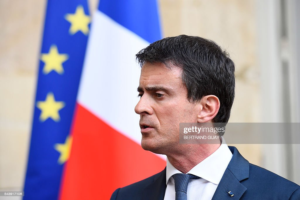 French Prime Minister Manuel Valls addresses the media after holding a series of meetings with heads and delegates of France's employers' unions Medef, CGPME, CFE-CGC and UPA and the French Labour minister on June 30, 2016 at the Hotel Matignon in Paris. Manuel Valls failed to narrow differences about the labour law reform , as Medef expressed its 'disappointment' and unions opposed to the draft were calling for further mobilization during the upcoming debate at the French National Assembly, where the use of the constitution's controversial Article 49.3, allowing the government to bypass parliament, might be expected. / AFP / BERTRAND