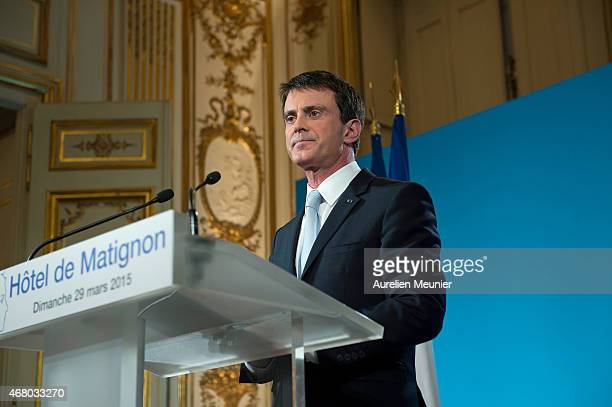 French Prime Minister Manuel Valls addresses the nation after the Socialist Party loss following the second round of the French departmental local...