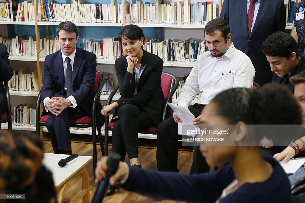 French Prime Minister <a gi-track='captionPersonalityLinkClicked' href=/galleries/search?phrase=Manuel+Valls&family=editorial&specificpeople=2178864 ng-click='$event.stopPropagation()'>Manuel Valls</a> (L) and Education minister <a gi-track='captionPersonalityLinkClicked' href=/galleries/search?phrase=Najat+Vallaud-Belkacem&family=editorial&specificpeople=4115928 ng-click='$event.stopPropagation()'>Najat Vallaud-Belkacem</a> meets on April 17, 2015 with students of the Leon Blum high school in Creteil, south-eastern Paris suburb, before the presentation of the government's plan aimed at figthting Racism and anti-Semitism. AFP PHOTO / PATRICK KOVARIK