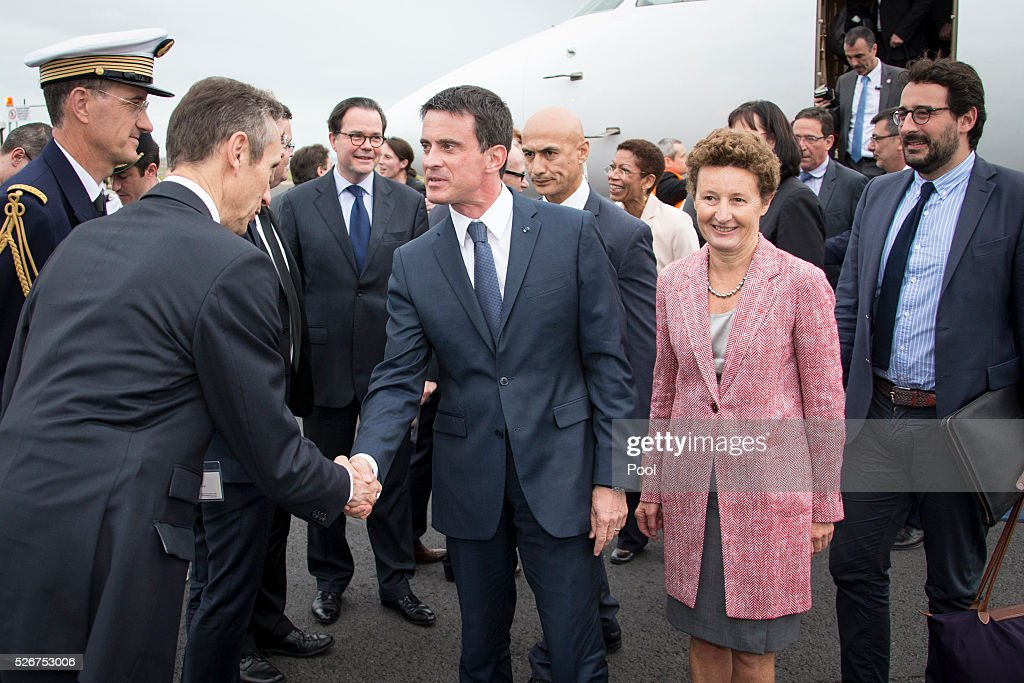 French Prime Minister Manuel Valls and Florence Jeanblanc-Risler, the Ambassador of France to New Zealand, are seen at Auckland Airport on May 1, 2016 in Auckland, New Zealand. It is the first time in 25 years that a French Prime Minister has visited New Zealand.