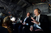 French Prime Minister Manuel Valls and French Defence Minister JeanYves Le Drian are pictured at the cockpit on February 19 2016 on the way to Gao...