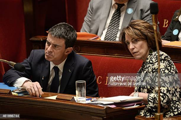 French Prime Minister Manuel Valls and French Health Minister Marisol Touraine attend a debate on a bill about terminallyill patients' endoflife on...