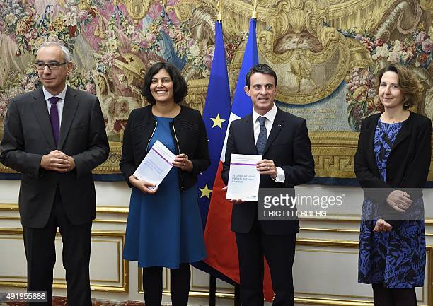 French Prime Minister Manuel Valls and French Labour Minister Myriam El Khomri present a report on the Compte Personnel dActivite as they stand along...