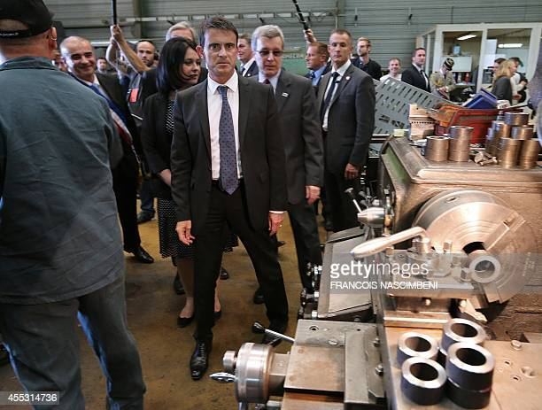French Prime minister Manuel Valls and French Minister for Housing Territorial Equality and Rurality Sylvia Pinel visit a 'preciculture' plant which...