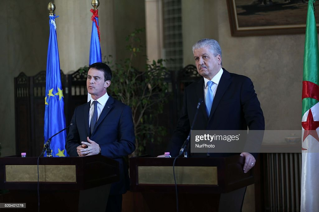 French Prime Minister <a gi-track='captionPersonalityLinkClicked' href=/galleries/search?phrase=Manuel+Valls&family=editorial&specificpeople=2178864 ng-click='$event.stopPropagation()'>Manuel Valls</a> (L) and his Algerian counterpart <a gi-track='captionPersonalityLinkClicked' href=/galleries/search?phrase=Abdelmalek+Sellal&family=editorial&specificpeople=3196882 ng-click='$event.stopPropagation()'>Abdelmalek Sellal</a> hosts a press conference at the government palace in the capital Algiers on April 10, 2016.