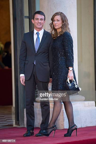 French Prime Minister Manuel Valls and his wife Anne Gravoin arrive to the Official Dinner in honor of the Prime Minister of India Narendra Modi at...