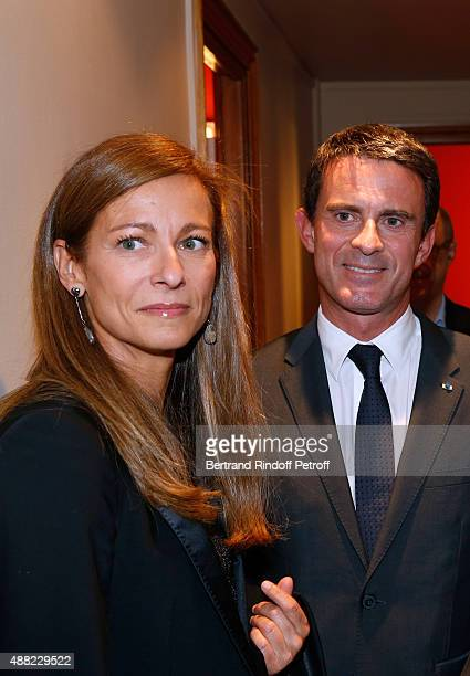 French Prime Minister Manuel Valls and his wife Violonist Anne Gravoin attend 'Le Mensonge' Theater Play Held at Theatre Edouard VII on September 14...