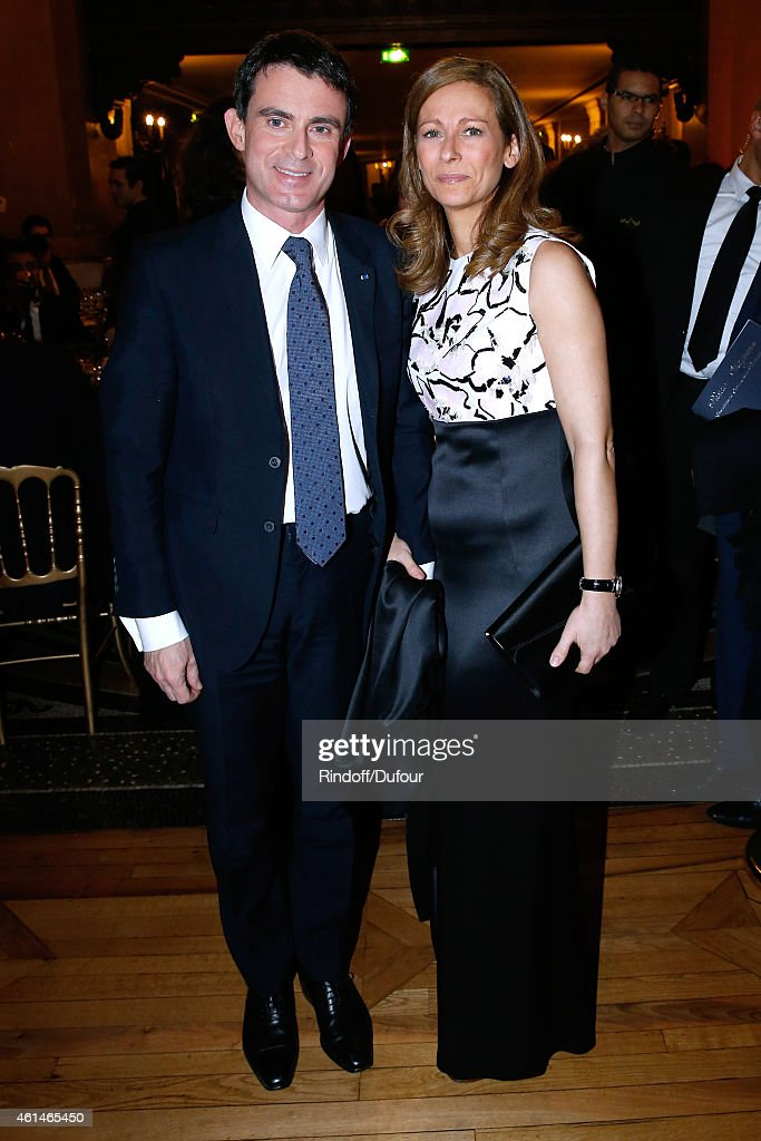 French Prime Minister Manuel Valls and his wife violonist Anne gravoin attend Weizmann Institute celebrates its 40 Anniversary at Opera Garnier in Paris on January 12, 2015 in Paris, France.