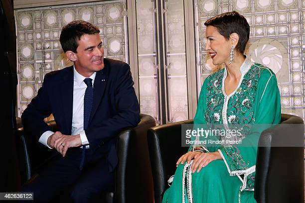French Prime Minister Manuel Valls and HRH The Princess Lalla Meryem of Morocco who delivers the insignia of the Order of the Throne Held at Institut...