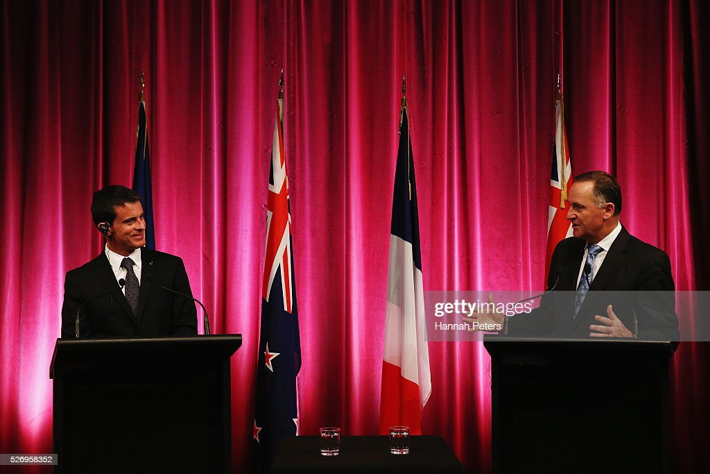French Prime Minister Manuel Valls and New Zealand Prime Minister John Key speak during a press conference at the Auckland museum on May 2, 2016 in Auckland, New Zealand. It is the first time in 25 years that a French Prime Minister has visited New Zealand.