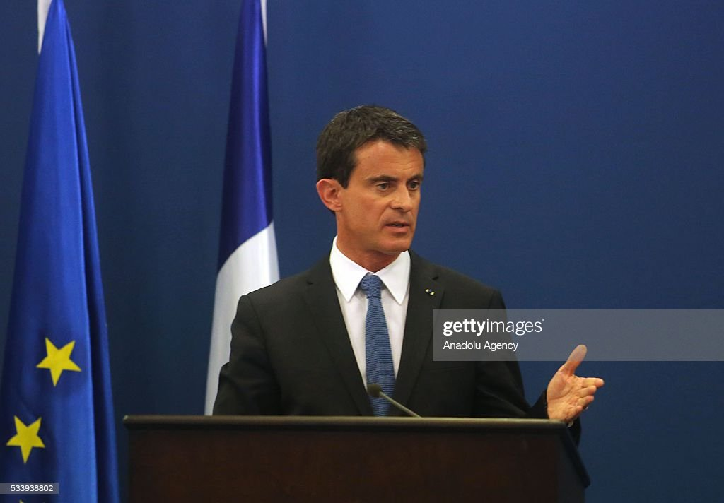 French Prime Minister Manuel Valls and Palestinian Prime Minister Rami Hamdallah (not seen) hold a joint press conference after their meeting at Prime Minister's Residence in Ramallah, West Bank on May 24, 2016.