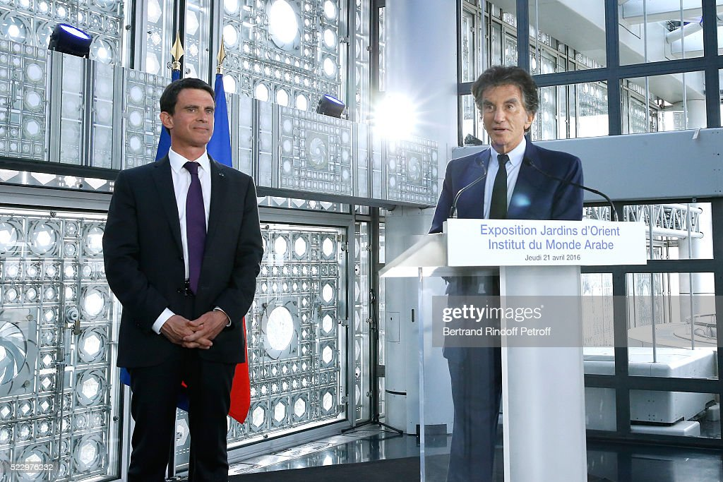French Prime Minister <a gi-track='captionPersonalityLinkClicked' href=/galleries/search?phrase=Manuel+Valls&family=editorial&specificpeople=2178864 ng-click='$event.stopPropagation()'>Manuel Valls</a> and President of the 'Institut du Monde Arabe' <a gi-track='captionPersonalityLinkClicked' href=/galleries/search?phrase=Jack+Lang&family=editorial&specificpeople=220296 ng-click='$event.stopPropagation()'>Jack Lang</a> present the 'Jardins d'Orient' Exhibition at Institut du Monde Arabe on April 21, 2016 in Paris, France.