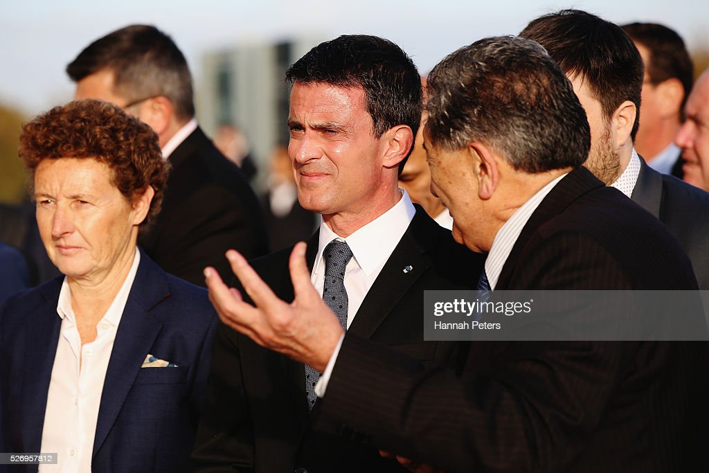 French Prime Minister Manuel Valls arrives at a welcome ceremony at the Auckland museum on May 2, 2016 in Auckland, New Zealand. It is the first time in 25 years that a French Prime Minister has visited New Zealand.