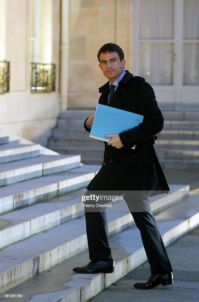 French Prime Minister Manuel Valls arrives to attend a crisis meeting at the Elysee Presidential Palace on January 10, 2015 in Paris, France. Key members of the French government meet Saturday morning to decide on new measures aimed at thwarting a repeat of the attacks in Paris that culminated in a massacre of 12 people at a satirical newspaper, and a supermarket bloodbath that left four hostages dead.