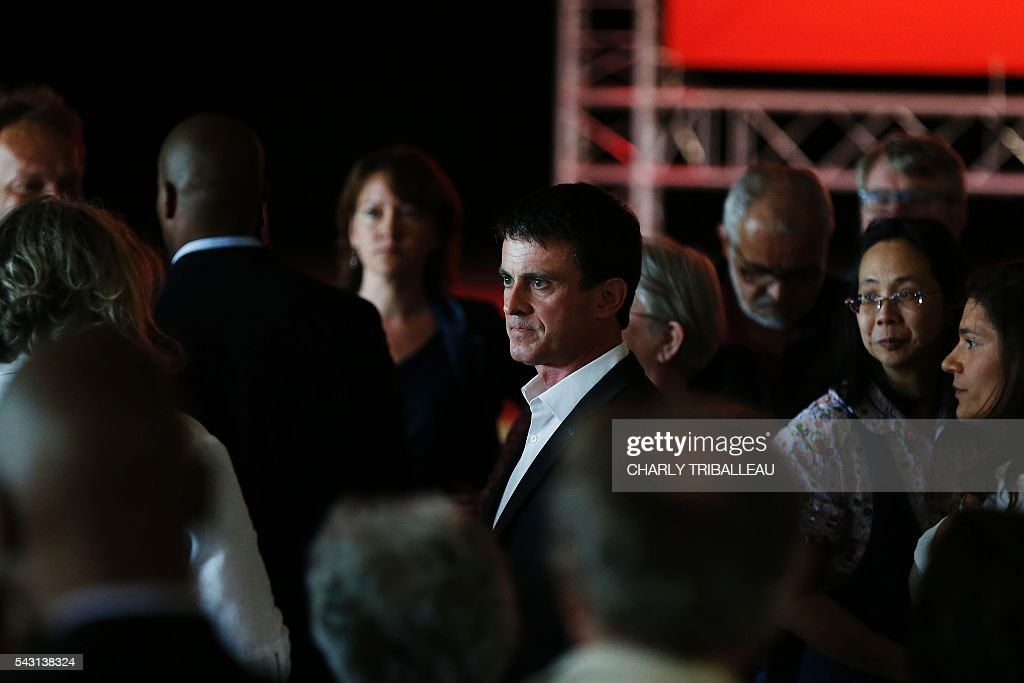 French Prime Minister Manuel Valls arrives to attend the 'Banquet Republicain' on June 26, 2016 in Belleville-sur-Mer, northwestern France. French Prime Minister Manuel Valls on Sunday said he opposed the TTIP transatlantic trade treaty currently under negotiation on the grounds that it was against 'EU interests'. 'No free trade agreement should be concluded if it does not respect EU interests. Europe should be firm,' Valls told members of the governing Socialist Party, adding 'France will be vigilant about this.' / AFP / CHARLY