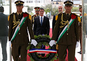 French Prime Minister Manuel Valls arrives with Palestinian prime minister Rami Hamdallah to lay a wreath at the tomb of the late Palestinian leader...