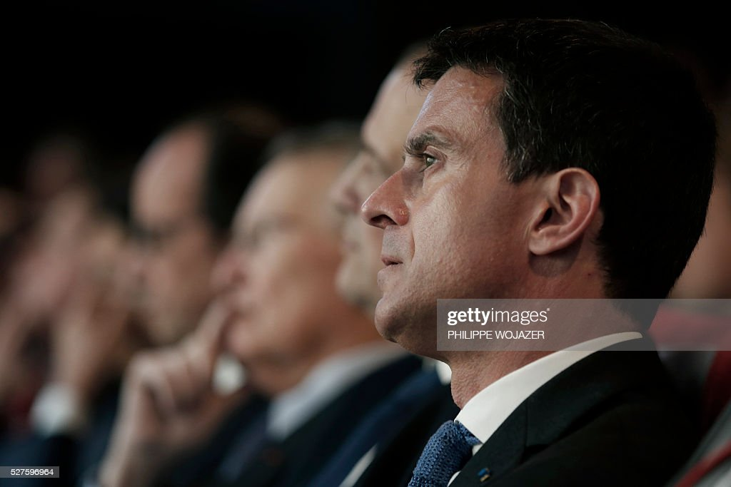 French Prime Minister Manuel Valls attends the conference 'Left wing and Power' at the Jean-Jaures Foundation in Paris, on May 3, 2016. / AFP / POOL / PHILIPPE