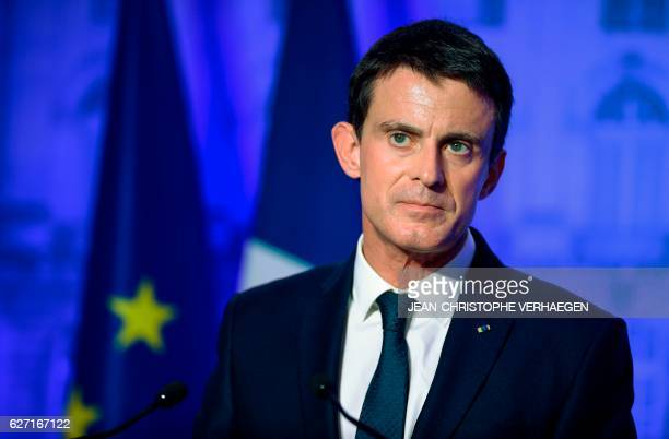 French Prime Minister Manuel Valls delivers a speech at the prefecture of MeurtheetMoselle on December 2 2016 in Nancy eastern France French...