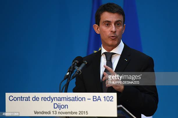French Prime Minister Manuel Valls delivers a speech within the signing of the revitalization contract of the BA 102 DijonLongvic airbase on November...