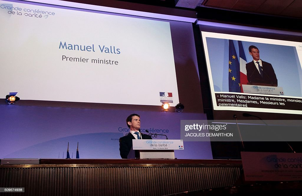 French Prime Minister Manuel Valls deliverS his closing speech at the Health Conference organised by the government on February 11, 2016 in Paris. / AFP / JACQUES DEMARTHON